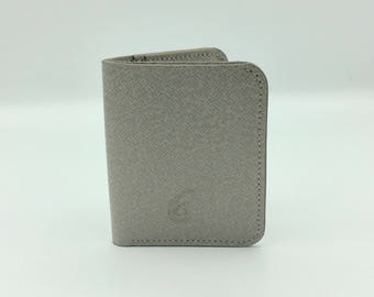 White leather card holder