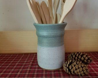 Icy turquoise and matte white pottery utensil holder,  pottery utensil holder, ceramic utensil holder, pottery vase, ceramic vase