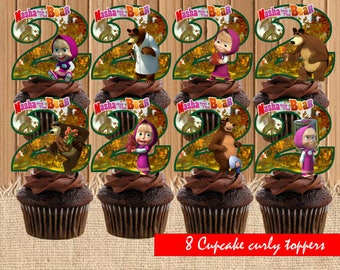 Masha and the Bear Cupcake Toppers| Masha and Bear Birthday Party| Masha Cupcake Toppers| Masha Birthday Party Printable| INSTANT DOWNLOAD
