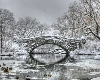 Gapstow Bridge, Central Park, New York In The Winter Snow Fine Art Photo, Wall Decor