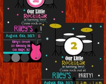 Digital file|printed|print yourself|rockstar| rockstar party| our little rockstar| invitation| birthday| first birthday | pink |green|blue