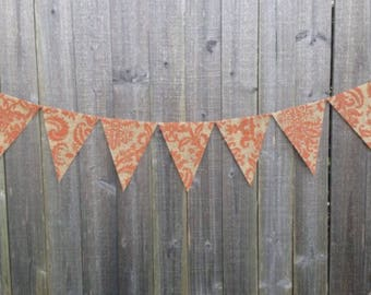 Fall burlap banner fall damask decor autmn decoration fall banner fall decoration