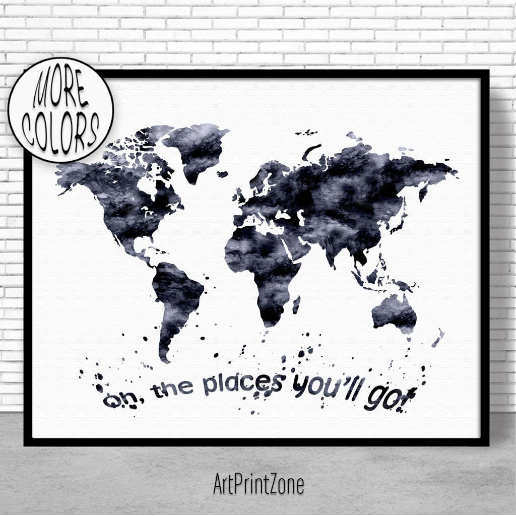 Oh the places youll go nursery world map print world map wall oh the places youll go nursery world map print world map wall art world print world map poster travel art prints artprintzone publicscrutiny Gallery