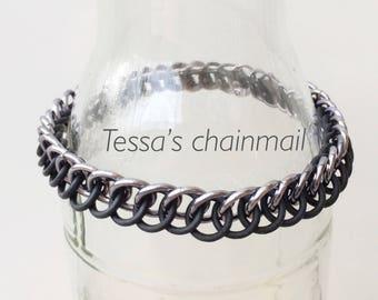 black bracelet, black rubber bracelet, half persian bracelet, black chainmaille half persian, stretchy bracelet, Tessa's chainmail