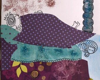 art card, birthday, thank you, made, Bohemian, drawing and collage originauxla Princess Petit spirit