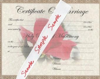 Certificate of marriage wedding keepsake