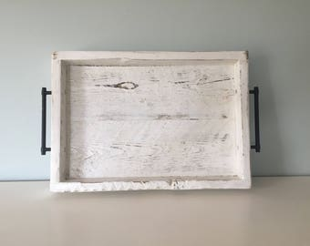 Medium Rustic Serving Tray - Vintage Reclaimed Barn Wood - Distressed White - Home Decor