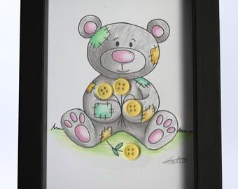 Framed illustration patchwork teddy