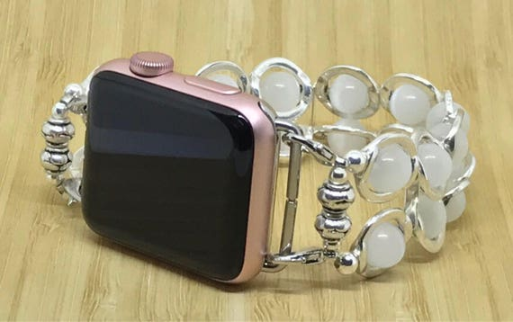 Apple Watch Band, Women Bead Bracelet Watch Band, iWatch Strap, Apple Watch 38mm, Apple Watch 42mm, White Cats Eye Silver Circles 7 1/4""