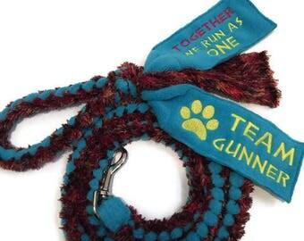 Personalized dog agility fleece tug leash Custom embroidered braided cuddle fleece dog lead