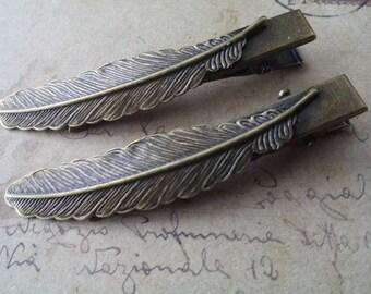 2 Spring hair clips ~ bronze ~.