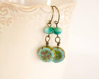 Boho, Bohemian glass, shades of turquoise earrings