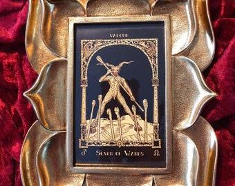Framed Seven of Wands HP Lovecraft tarot card
