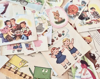 Vintage Children's Book Clippings Lot #2- Scrapbooking - Journaling - Collage - Craft Paper