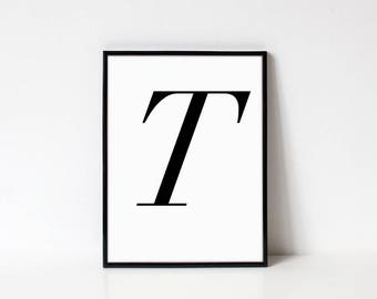 Scandinavian Printable Letter Print, Letter T, Black and White Typography Art