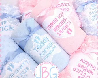 Personalised baby blanket, Fleece, bubble or fluffy, Luxury Embroidered blankets,star or heart design,new baby gift, baby shower/christening