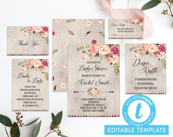 Floral Baby Shower Invitation Printable, Boho Baby Shower Invite, Rustic Invitation, Floral Invitation, Bohemian Invite, Shabby Chic Invite