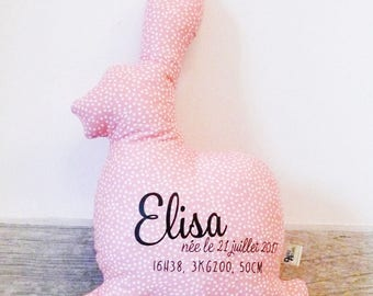Bunny pillow with customizable birth (name, weight, size and date of birth)