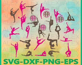 70% OFF, Gymnast SVG Files, Gymnasts Monogram Svg Files, Gymnastics svg,  Silhouette svg files, Gymnast Svg, Dxf, Png, Ai File, Instant Down