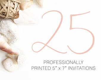 25 Professionally Printed Invitations White Envelopes Included And Free US Shopping, Printed Invitations