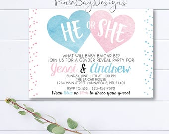 Watercolor Gender Reveal Invitation, Gender Reveal Party, Blue Or Pink, He Or She Gender Reveal, Watercolor Invite, Gender Reveal Invitation