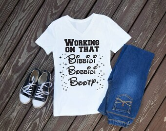 Working On That Bibbidi Bobbidi Booty Women's T-Shirt, Disney Shirts, Fitness Shirts, Disney