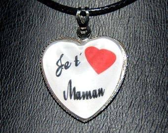 "glass heart pendant necklace ""I love you MOM"""