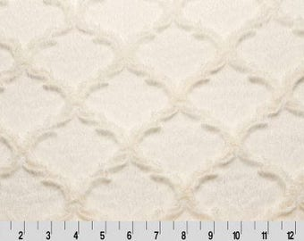 White or Ivory Embossed Quatrefoil Minky - Luxe Cuddle Minky Fabric by the Yard - 60 Wide - Shannon Fabric Minky - Lattice Minky