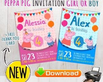Peppa Pig Invitation + FREE Thank You Card. Peppa Pig birthday invitation,Peppa Pig birthday party,invitacion Peppa Pig, Peppa Pig printable