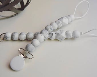 Silicone marble pacifier clip with a haxagon