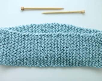 Ready To Ship, Garter Stitch, Cowl, Thick Infinity Scarf, Glacier