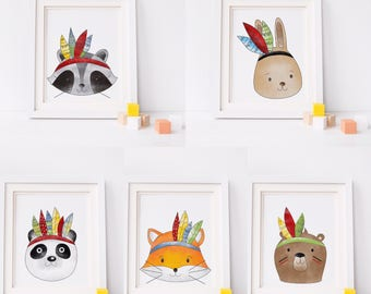 Tribal animal prints/tribe/nursery decor/ tribal nursery/ high quality prints/ A4 animal prints