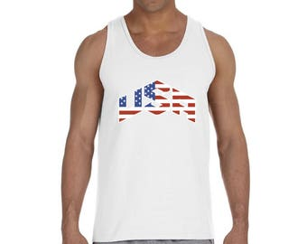 USA Flag Inside Tank Top Tank Tops 4th of July Fourth of July US National Colors Flag