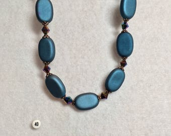 Soft Blue and Antique Copper Necklace