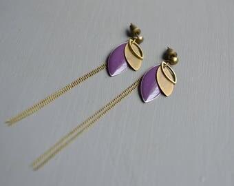 Long earrings dark purple and bronze
