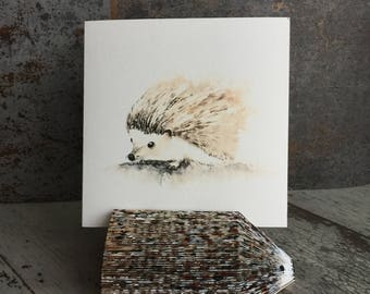 Hedgehog Card, Animal Cards, Watercolor Card, Art Cards Watercolor, Blank Greeting Cards, Card for Hedgehog Lover, Artist Trading Card