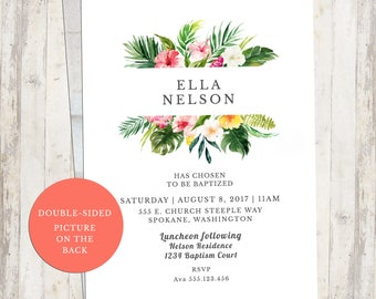 Baptism Invite, Birthday Invite, Engagement Party Inivite, Bridal Shower, Luau, Tropical, Printable Invite