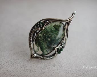 Nickel silver ring Solitare ring Moss agate gemstone Moss agate jewelry Wire wraped ring Nickel silver wire Finger ring Nature ring