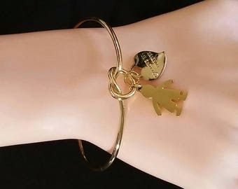 Simple Love Knot Gold bangle Women Bracelet, Custom boy & girl with engraved love words heart charm, Engraved Mother gift Bracelet