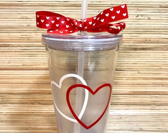 Valentine's Day Tumbler/Heart Tumbler/Tumbler with Straw/Cute Tumbler/