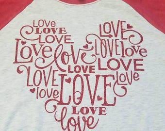Love Love Love/Valentine t-shirt