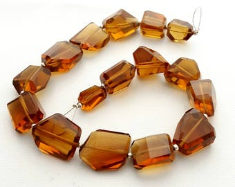 """BEER QUARTZ faceted nuggets, beer quartz gemstone, very nice quality, size -- 9x13 mm -- 18x19 mm Approx, 10"""" strand [E1398]"""