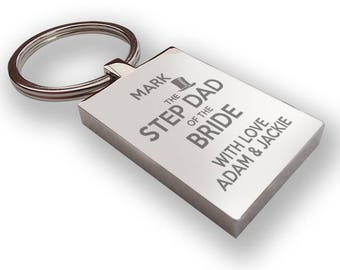 Personalised engraved STEP DAD of the bride keyring wedding gift, thank you favour, top hat - HA8