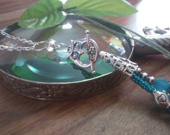 necklace, stainless steel, owl, turquoise glass stone
