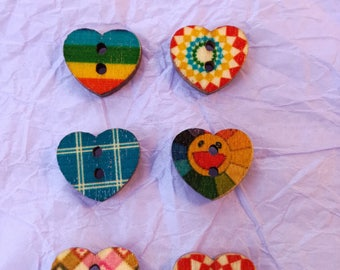 6 Small Wooden Heart Buttons - for Crafts - Wood backs - Assorted Colours & Patterns