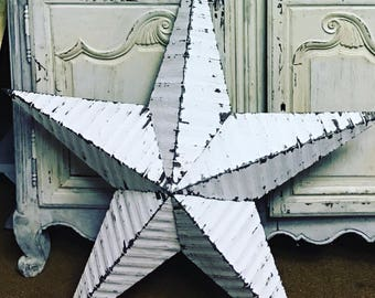 BARN STAR - 99cm Large - White Metal - UPCYCLED  - Wall Hanging - Armish Star