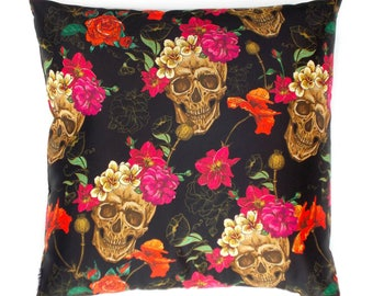 Accent Pillow Design Skulls and Flowers Cushion