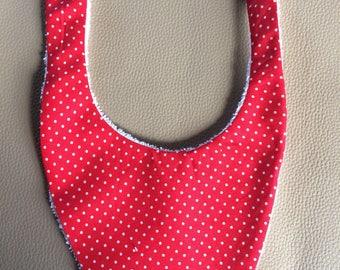 Terry bib, red white polka dots. Free shipping!