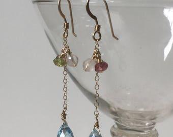 Blue Topaz Earrings,Gemstone Jewelry,14k Gold Filled