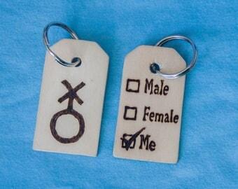 Non-binary symbol keyring- pyrography keychain- trans- LGBT- LGBTQ -wood burning